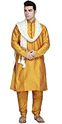 SKAVIJ Mens Dupion Art Silk Sherwani - Set of 3 (Kurta, Pajama and Dupatta)