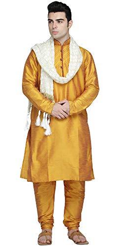 SKAVIJ Men s Art Silk Kurta Pajama and Scarf Festivals Season Ethnic Party Dress Suit (Large  Gold)