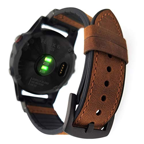 YOOSIDE for Fenix 5/Fenix 6 Watch Band, 22mm QuickFit Genuine Leather Silicone Hybrid Wristband Strap for Garmin Fenix 5/5 Plus,Approach S62/S60,Forerunner 935/945,Fit Wrist 6.69-8.66 (Brown)