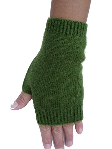 Mongolia Pure Cashmere Wool Women Woman Thick Fingerless Gloves Mittens (Green)