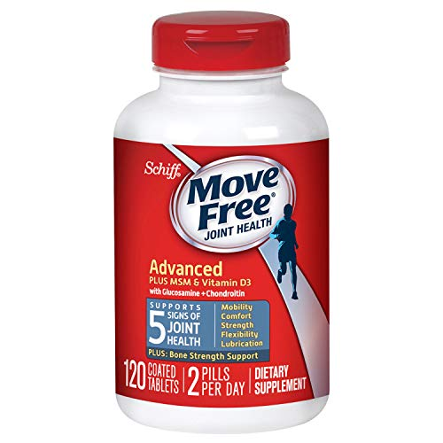 Glucosamine and Chondroitin Plus MSM & D3 Advanced Joint Health Supplement Tablets, Move Free (120 count in a bottle), Supports Mobility, Comfort, Strength, Flexibility and Lubrication