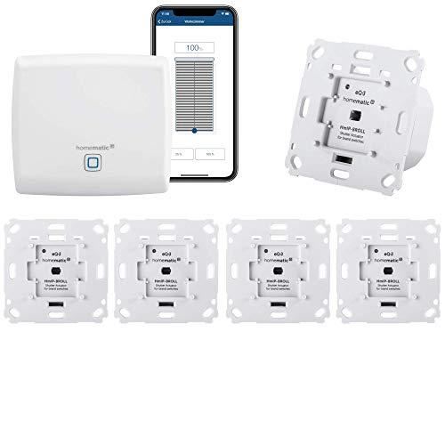 Homematic IP Rolladensteuerung für 5 Rolladen. Smart Home Set inkl. App zur Automatisierung der Rollläden. Ideal zur Nachrüstung. Alexa kompatibel. Inhalt: Zentrale, 5 Funk Rollladenaktoren, Adapter.