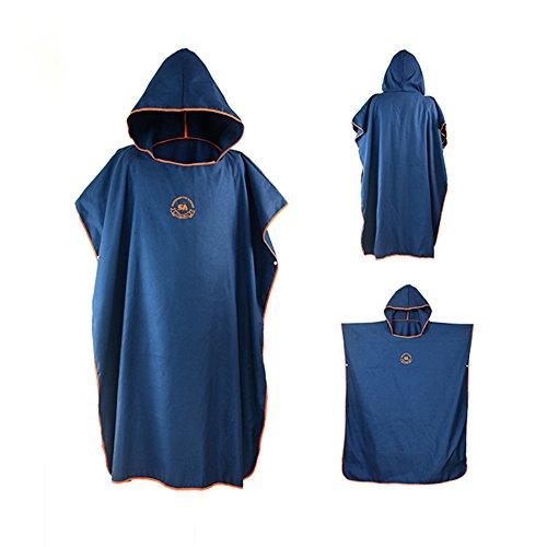 Ele Eleoption - Poncho asciugamano con cappuccio in microfibra, ideale per il surf, compatto e leggero, perfetto per spiaggia, vacanze, viaggi, surf, taglia unica Navy Blue