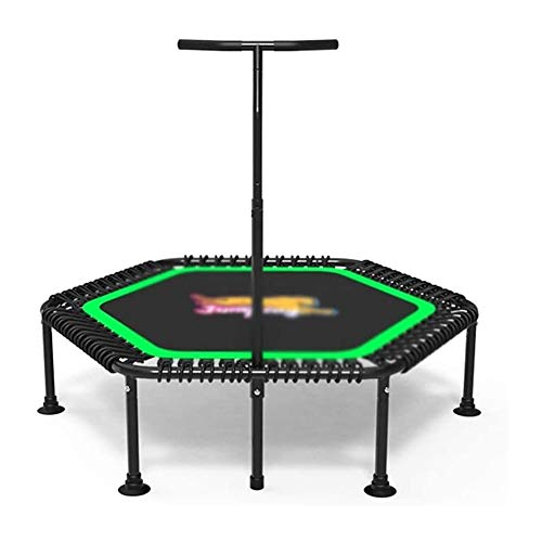 Trampoline Foldable Trampoline Indoor Fitness Safety Handrail Adjustable High Elastic Elastic Rope Suction Cup Silent Floor Mat Strong Bearing Capacity Universal Type Home Exercise Foldable Trampoline