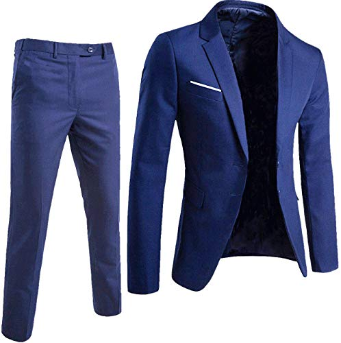 Keskin Anzug Herren Blau Business Slim Fit (L, Blau)