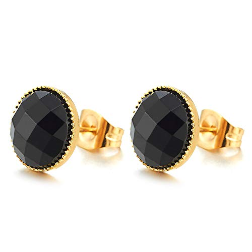 Color Oro Acero Inoxidable Negro Facetado Cristal Cúpula Pendientes de Hombre Mujer, Aretes, De Moda, 2 Piezas