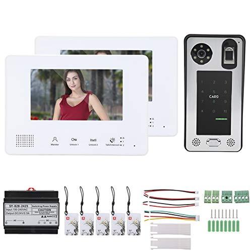 Videoportero, múltiples métodos de desbloqueo Timbre de visión nocturna Conexión de cable flexible Sistema de 2 cables para control de acceso residencial