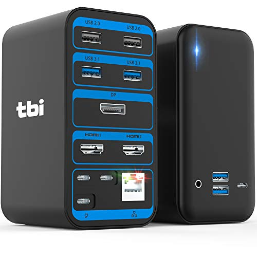 Newest 2021 TBI Pro Docking Station 15 in 1 - USB c Hub for Laptop Thunderbolt 3 Macbook Pro, Air and Windows - Triple Display 4K 60Hz Powered Dock with Multiport 2 HDMI, DisplayPort, 4 USB 3.1, USB-C