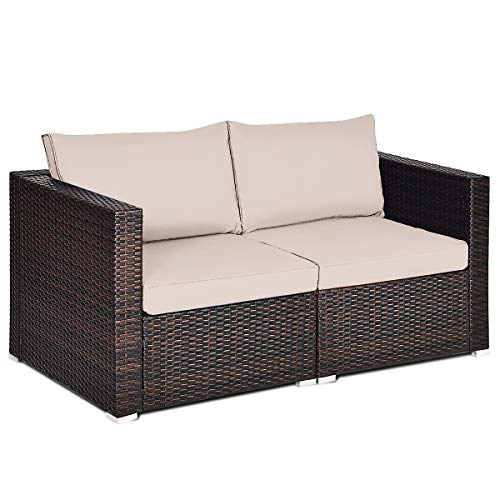 Tangkula 2 PCS Outdoor Wicker Corner Sofa Set, Patio Rattan Loveseat w/Removable Cushions, Sectional Sofa Set Additional Seats for Balcony Patio Garden Poolside (Brown)