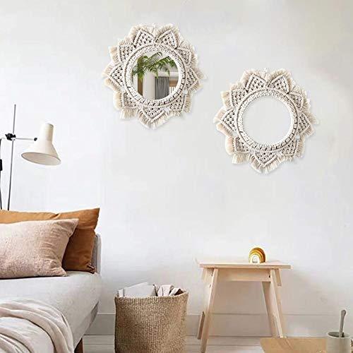 Espejo de pared nórdico cálido, espejo de maquillaje Bohemian Art Deco adecuado para la sala de estar del apartamento, la mesita de noche, la cama y el desayuno, la entrada del hotel, la decoración de