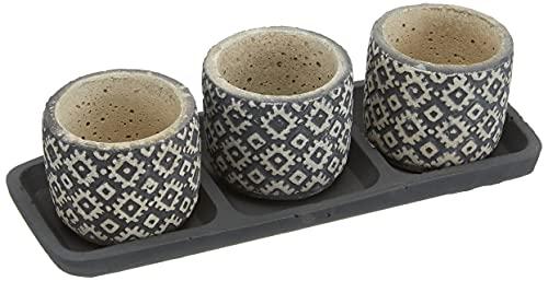 Veramaya Plaat Trio Zwart Vloerkleed Patroon Beton Sukulent Pot Set 24,5x7x9.5 Cm