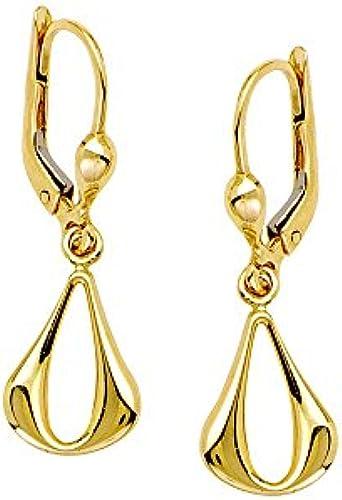 14  Gelb Gold Open Puffüropfenform baumeln Ohrringe
