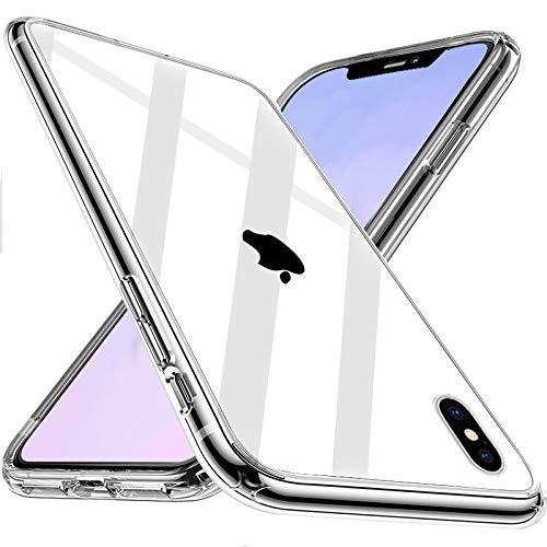 Wlife Crystal Clear Kompatibel mit iPhone X Hülle iPhone XS Hülle, Transparent Stoßfest Anti-Gelb Anti-Kratzer Dünn Handyhülle Slim PC mit TPU Silikon Rahmen Durchsichtige Schutzhülle iPhone X/XS Case