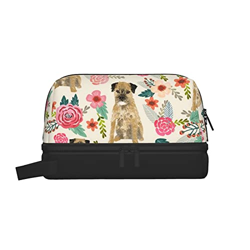 Bolsa de lavado multifuncional, bolsa de maquillaje, organizador de cosméticos, bolsa de aseo colgante para hombres y mujeres (Border Terrier Florals crema de raza de perros)