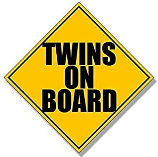 MAGNET 5x5 inch Caution Sign Shaped TWINS On Board Sticker (fun funny humor fraternal) Magnetic vinyl bumper sticker sticks to any metal fridge, car, signs