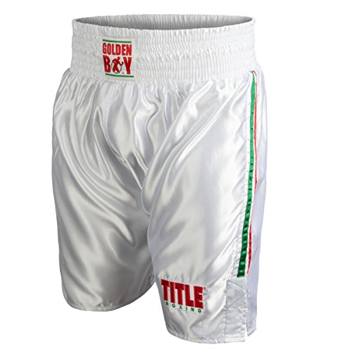 Golden Boy Pro Style Boxing Trunks, White/Red/Green, Small