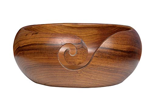 Kitchen Supplier - Cuenco de madera de mango hecho a mano para punto y ganchillo, ideal como regalo
