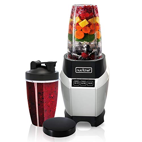 Nutrichef NCBL1000 Personal Electric Single Serve Small Professional Kitchen Countertop Mini Blender for Shakes and Smoothies w/Pulse Blend, Convenient Lid Co, 20 & 24 oz Cups, Black
