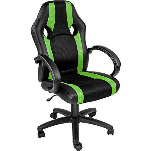 TecTake 800335 Bürostuhl Racing Chefsessel mit gepolsterten Armlehnen - Diverse Farben - (grün | nr. 402158)