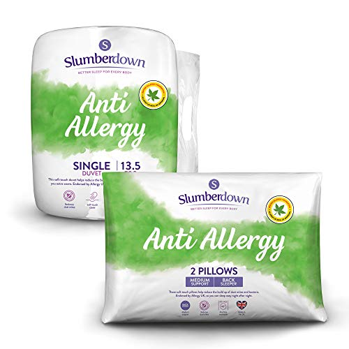 Slumberdown Anti Allergy Single Duvet 13.5 Tog Winter Duvet Single Bed Plus 2 Medium Pillows