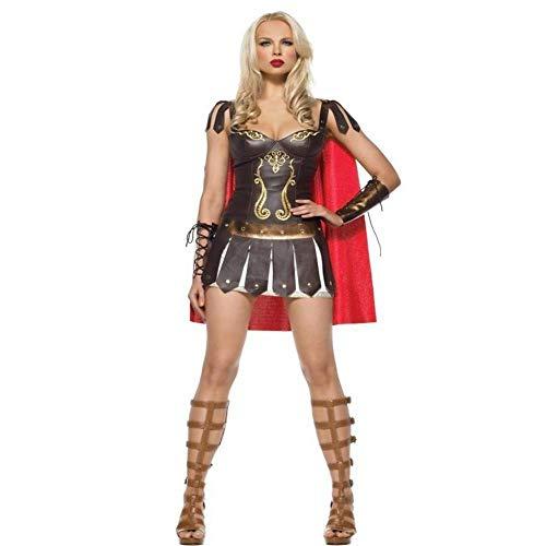 Fashion-Cos1 Disfraz de Halloween para Mujer Sexy caribeña Capitán Disfraces de Pirata Mujer Adulta guerrera Cosplay Vestir Ropa Carnival Vintage Griego/español Traje de Gladiador