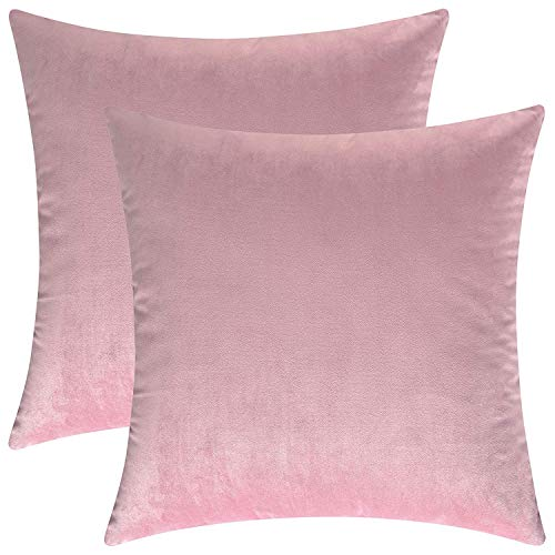 RESTFUL Velvet Soft Decorative Square Pillow Cover Throw Cushion Covers Pillowcase, Home Decor for Party/Xmas Bedroom/Car with Invisible Zipper Dark,Set of 2 (Pink, 50x50cm)