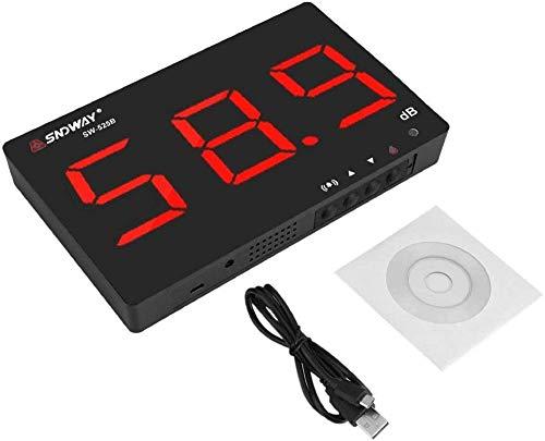 Medidor de decibelios, medidor de nivel de sonido digital montado en la pared, medidor de ruido, rango de medición de 30 a 130 dB, precisión de 1,5 dB con pantalla LCD