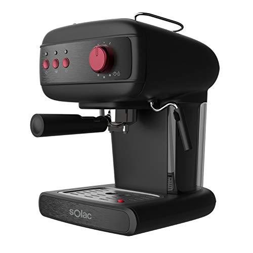Solac CE4496 Stillo 20 Bar Cafetera espresso, 850 W, 1.5 litros, Acero Inoxidable, Negro