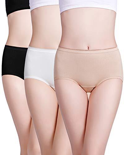 wirarpa Mujer Bragas de Algodón Braguita Cintura Alta Calzoncillos para Mujer Pack de 3 Talla 46-48