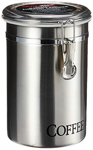 """Oggi 60-Ounce Brushed Stainless Steel """"Coffee"""" Airtight Canister with Acrylic Lid"""