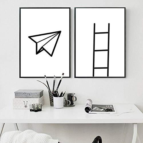 N/A muurkunst canvas home papier lijntjes decor schilderwerk canvas poster afbeelding voor woonkamer wooncultuur 50x70 cm x 2 geen lijst
