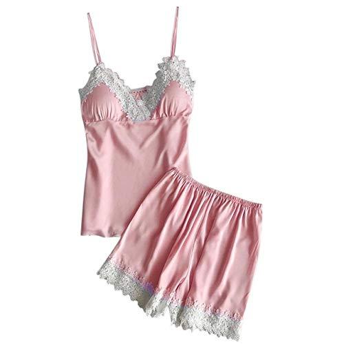 Handaxian Pijamas Ropa Interior para Damas Baby Doll Short Pyjamas 2PC Set Ladies Pyjamas