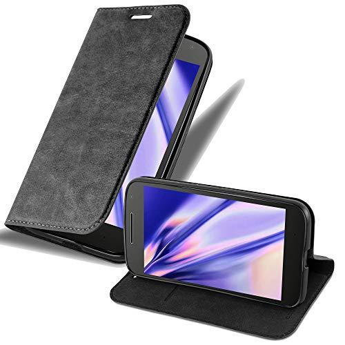 Cadorabo Hülle für Motorola Moto G4 / Moto G4 Plus - Hülle in Nacht SCHWARZ – Handyhülle mit Magnetverschluss, Standfunktion und Kartenfach - Case Cover Schutzhülle Etui Tasche Book Klapp Style