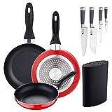Juego de 3 sartenes 16/20/24 cm + Set 4 cuchillos de cocina: Chef, Santoku, Pelador y...
