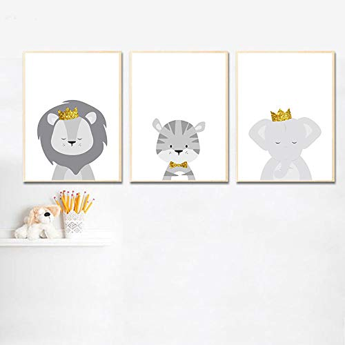 HXJLM Baby Nursery Wall Art Canvas Poster Print Animal Lion Elephant Painting Nordic Kids Decoration Picture Children…