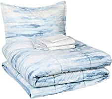 Amazon Basics 6-Piece Ultra-Soft Microfiber Bed-In-A-Bag Comforter Bedding Set - Twin/Twin XL, Blue Watercolor