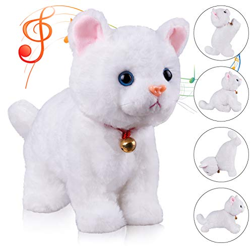 White Plush Animal Cat Stuffed Interactive Cat Robot Toy, Barking Meow Kitten Touch Control, Electronic Cat Pet, Cat Kitty Toy, Animated Toy Cats for Girls Baby Kids L:12
