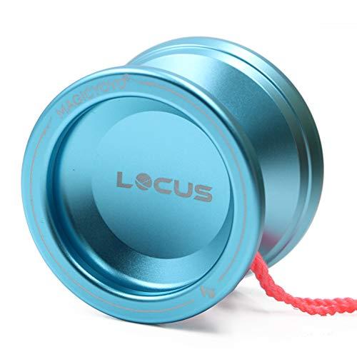 Magic Yoyo Ball V6 Locus Space Yoyo Aluminum Metal Responsive Yoyos Ball Bearing for Kids Beginners Learner with Bag Glove 5 Strings Light Blue