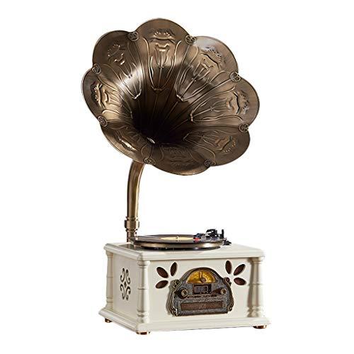 Grammophon Schallplattenspieler, Desktop 3 Geschwindigkeiten 33/45/78 U/min. USB-Anschluss CD-Spieler Bluetooth-Wiedergabe RCA-Ausgang (Farbe : Weiß, größe :...