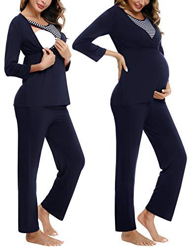 Akalnny Stillpyjama Damen Baumwolle Langarm Winter Schwangerschaft Schlafanzug mit Stillfunktion Pyjama Set für Schwanger Geschenk