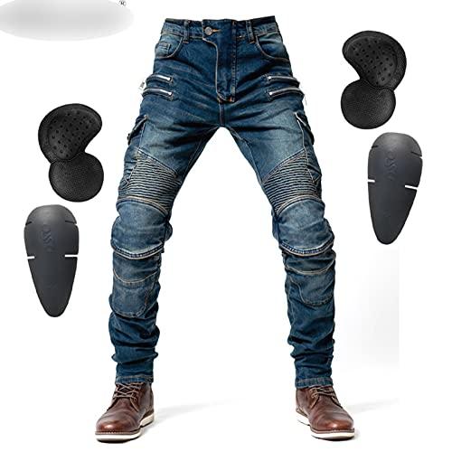 2020 Nieuwe Motorfiets Broek Heren Moto Jeans Zipper Beschermende Gear Riding Touring Motor Broek Motocross Broek Moto Pants (Color : Hi 07 Blue A, Size : S)