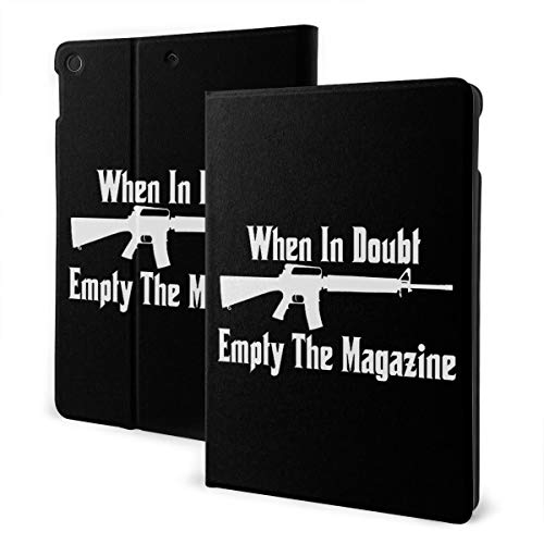 When in Doubl Empty The Magazine iPad 7th Generation Case iPad 10.2'' Cute Shell Smart Cover Auto Wake/Sleep