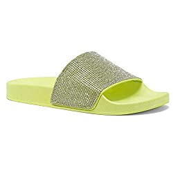 Rhinestone Glitter Limeyellow Slide Slip On Mules Summer Shoe