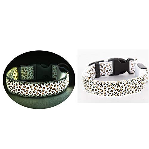 XXWW Cxwypd Collar de Perro Leopardo impresión Luminosa Ajustable Collar Utilizada para Mostrar la posición del Perro Cuando viaja por la Noche (Color : White, Size : M Place The Battery)