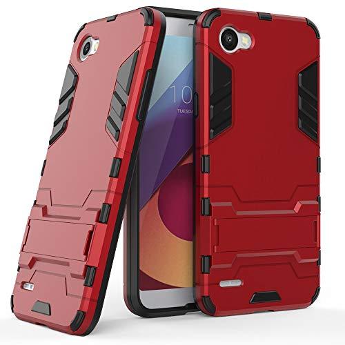 COOVY® Cover für LG Q6 Bumper Hülle, Doppelschicht aus Plastik + TPU-Silikon, extra stark, Anti-Shock Hülle, Standfunktion   rot