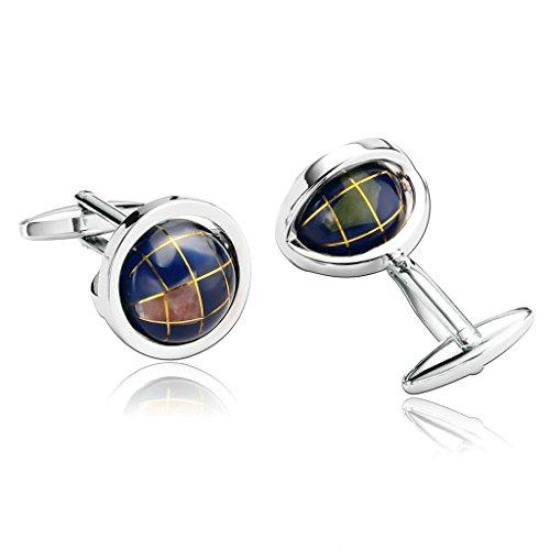 Daesar Schmuck 1 Paar Edelstahl Manschettenknopfe Herren Lila Klassische Rotatable Globe Manschettenknopf 1.9x1.9CM