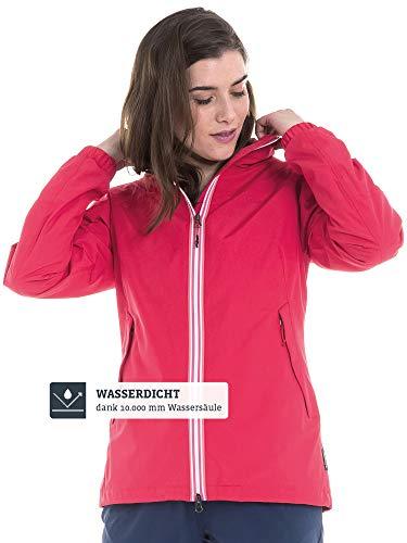 Schöffel Damen Jacket Yokohama2 modische und wasserdichte Damen Jacke, bequeme Regenjacke für Frauen mit integrierter Sicherheitstasche, lollipop, 38