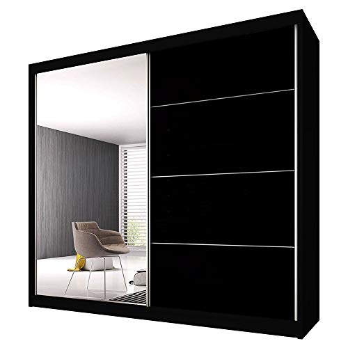 Schwebetürenschrank Claudia 31 mit Spiegel Kleiderschrank mit Kleiderstange und Einlegeboden Schlafzimmer- Wohnzimmerschrank Schiebetüren DREI Großen Modern (Schwarz / Schwarz Glanz + Spiegel, 203 cm)