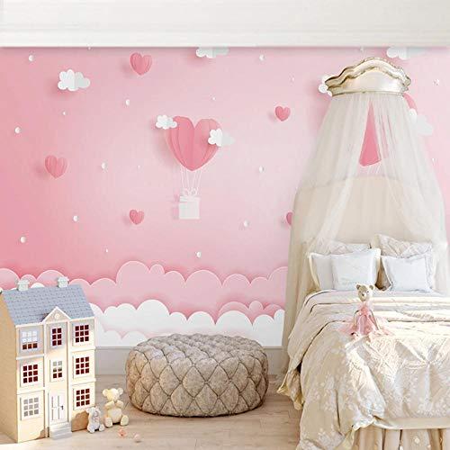 Nomte 3D fotobehang roze wolken prinses kinderkamer meisjes slaapkamer achtergrond decoratie wandschilderij behang voor kinderkamer 400x280cm