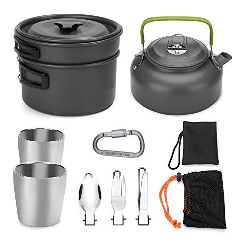 JZK Aluminio camping utensilios de cocina portátil ligero camping olla set aire libre olla hervidor 2 tazas y vajilla para 2-3 personas camping senderismo senderismo picnic